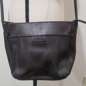 Fossil Black Pebbled Leather Crossbody Purse Bag